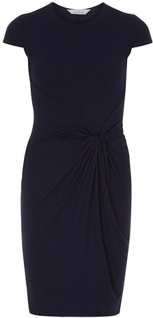 Dorothy Perkins Petite navy knot front dress