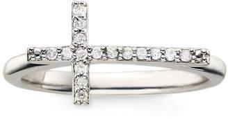 JCPenney FINE JEWELRY 1/10 CT. T.W. Diamond Sterling Silver Mini Sideways Cross Ring