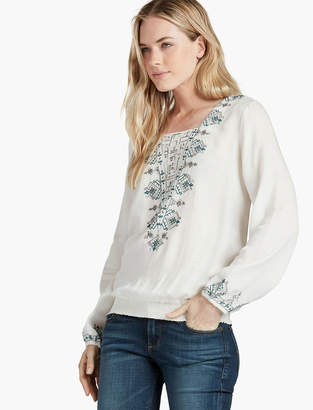 Lucky Brand Embroidered Smocked Bottom
