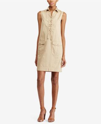 Lauren Ralph Lauren Lace-Up Shift Dress $125 thestylecure.com