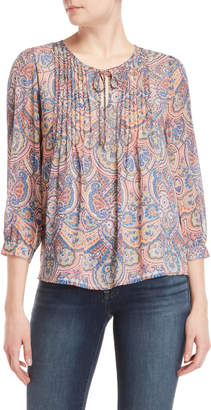 Tommy Hilfiger Printed Pintuck Blouse