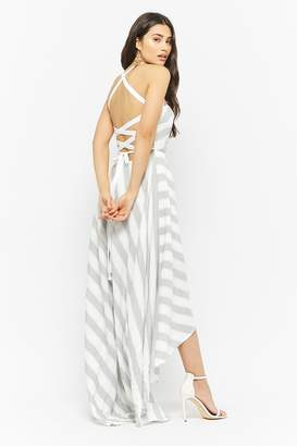 Forever 21 Striped Lace-Up Back High-Low Dress