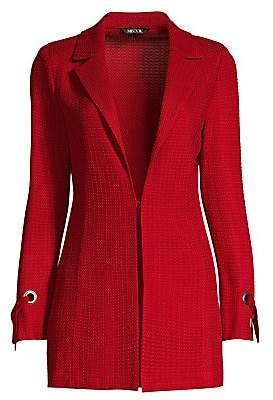 Misook Women's Grommet and Tie Cuff Crimson Jacket