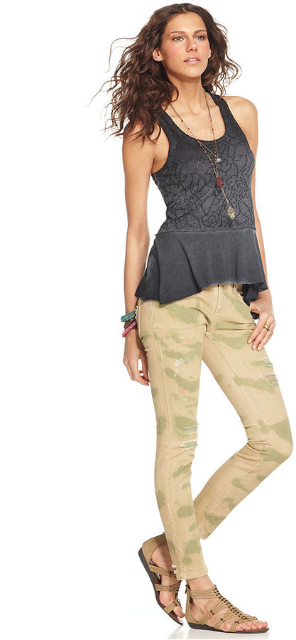 Free People Jeans, Skinny Camouflage-Print Destroyed
