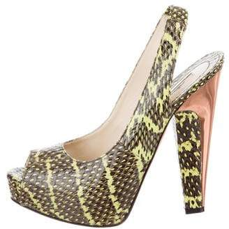 Brian Atwood Python Peep-Toe Pumps
