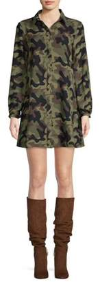 Scoop Button-Down Swing Shirt Dress Camo Print Women's
