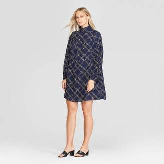 Who What Wear Women's Long Sleeve Mock Turtleneck Front Button-Down A Line Mini Dress - Who What WearTM