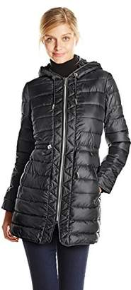 Kenneth Cole Women's Packable Puffer Coat with Cinch Waist $29.93 thestylecure.com
