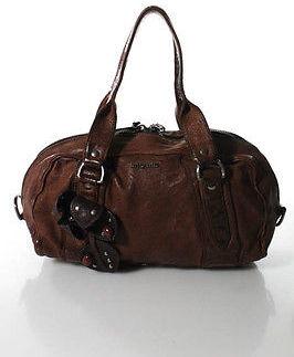 Miu MiuMiu Miu Brown Leather Beaded Trim Rounded Satchel Handbag