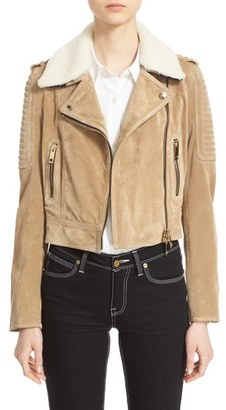 Women's Burberry 'Peakhurst' Suede Biker Jacket With Removable Genuine Shearling Collar $2,795 thestylecure.com