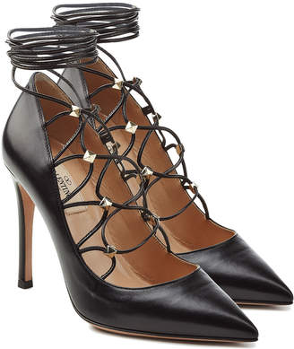 Valentino Leather Pumps with Embellished Ties at Ankle