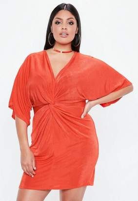 Missguided Plus Size Red Slinky Kimono Dress
