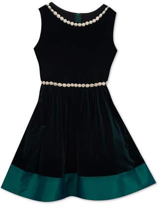 Rare Editions Big Girls Pearl-Trim Velvet Dress