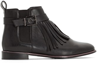 CASTALUNA PLUS SIZE Wide Fit Leather Chelsea Boots with Fringed Detail, Sizes 38-45