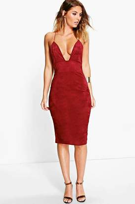 boohoo Rina Strappy Suedette Midi Bodycon Dress