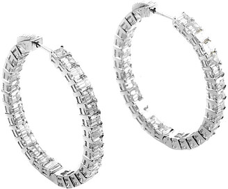 Diamond Select Cuts Platinum 10.97 Ct. Tw. Diamond Hoop Earrings