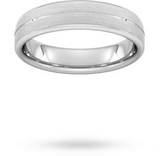 5mm D Shape Standard centre groove with chamfered edge Wedding Ring in Platinum
