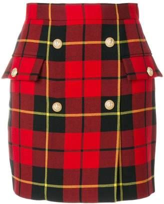 Balmain tartan mini skirt