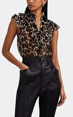 Robert Rodriguez Women's Ruffled Leopard-Print Silk Chiffon Blouse