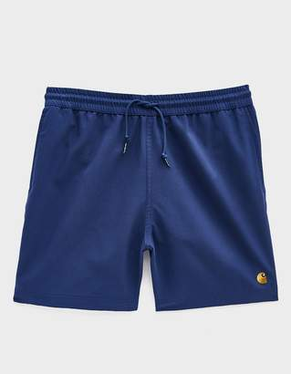 Carhartt Wip Chase Poly Swim Trunk in Metro Blue/Gold