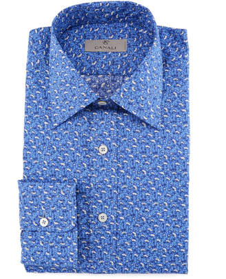 Canali Mini-Floral Cotton Dress Shirt