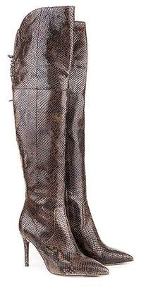 Formentini Perla Zucca Over-the-Knee Python Embossed Leather Boot