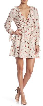 Moon River Floral Print Faux Wrap Dress