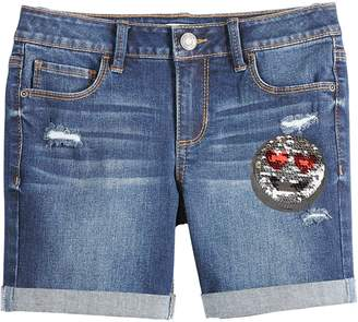 Mudd Girls 7-16 & Plus Size Emoji Sequin Patch Denim Shorts