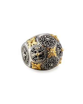 Konstantino Carved Sterling Silver & 18K Floral Dome Ring
