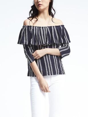 Stripe Off-Shoulder Top $58 thestylecure.com