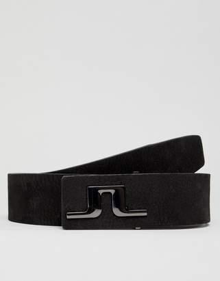 J. Lindeberg Brushed Leather Belt in Black