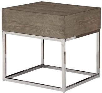 ACME Furniture Acme Cecil II Gray Oak End Table with Chrome Base