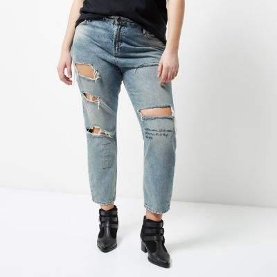 River IslandRiver Island Womens Plus blue wash ripped Ashley boyfriend jeans