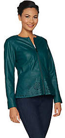 Belle by Kim Gravel Perforated Faux Leather ZipFront Jacket