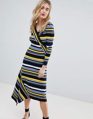 Warehouse Stripe Asymmetric Hem Knitted Midi Dress