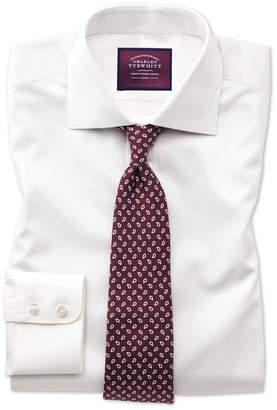 Charles Tyrwhitt Classic Fit Semi-Spread Collar Luxury Cotton Silk Off-White Cotton Silk Dress Shirt Single Cuff Size 16/34