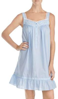 Eileen West Embroidered Lace-Trimmed Nightgown