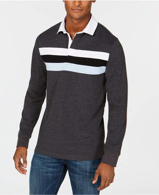 Club Room Men's Chest-Stripe Rugby Shirt, Created for Macy's