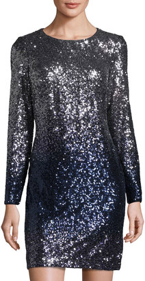 MAIA Ombre Long-Sleeve Sequined Dress, Blue/Silver $109 thestylecure.com