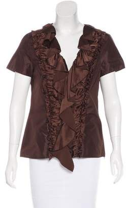 Oscar de la Renta Silk Short Sleeve Top w/ Tags