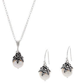 Or Paz Sterling Silver Cultured Pearl Necklace& Earrings Set