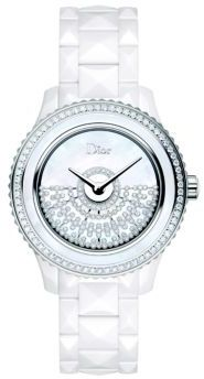 Christian Dior  Dior Dior VIII Grand Bal Diamond, Mother-Of-Pearl, White Ceramic & Stainless Steel Automatic Bracelet