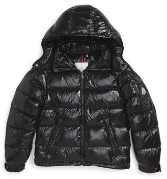 Toddler Boy's Moncler 'Maya' Shiny Water Resistant Down Jacket $460 thestylecure.com