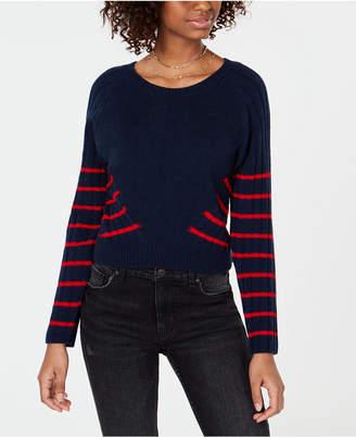 Planet Gold Juniors' Striped Rib-Knit Sweater