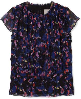 Jason Wu Collection - Floral-print Silk-crepon Top - Purple