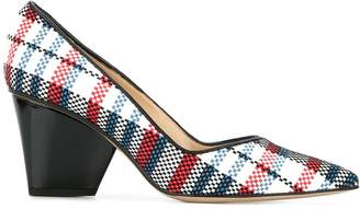 Paul Andrew sculpted heel plaid pumps