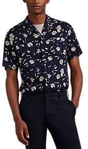 Officine Generale Men's Floral Short-Sleeve Shirt - Navy