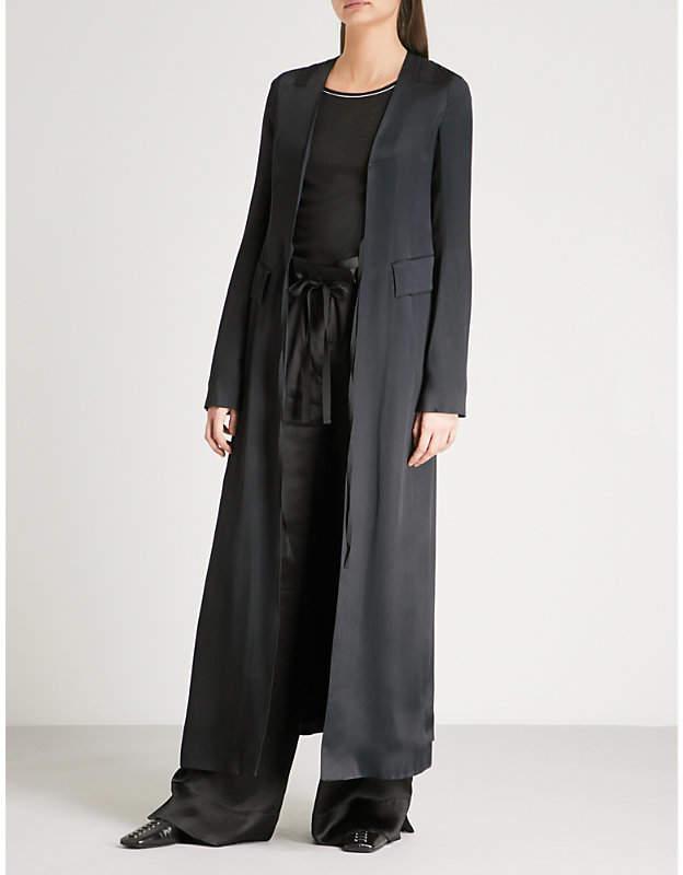 Ribbon-detail satin coat