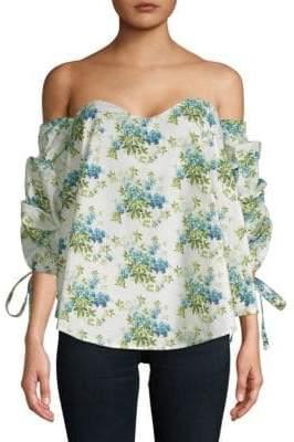 Bonning Off-The-Shoulder Floral Cotton Blouse