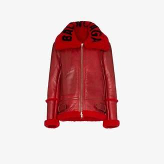Balenciaga Bombardier oversized leather and shearling coat